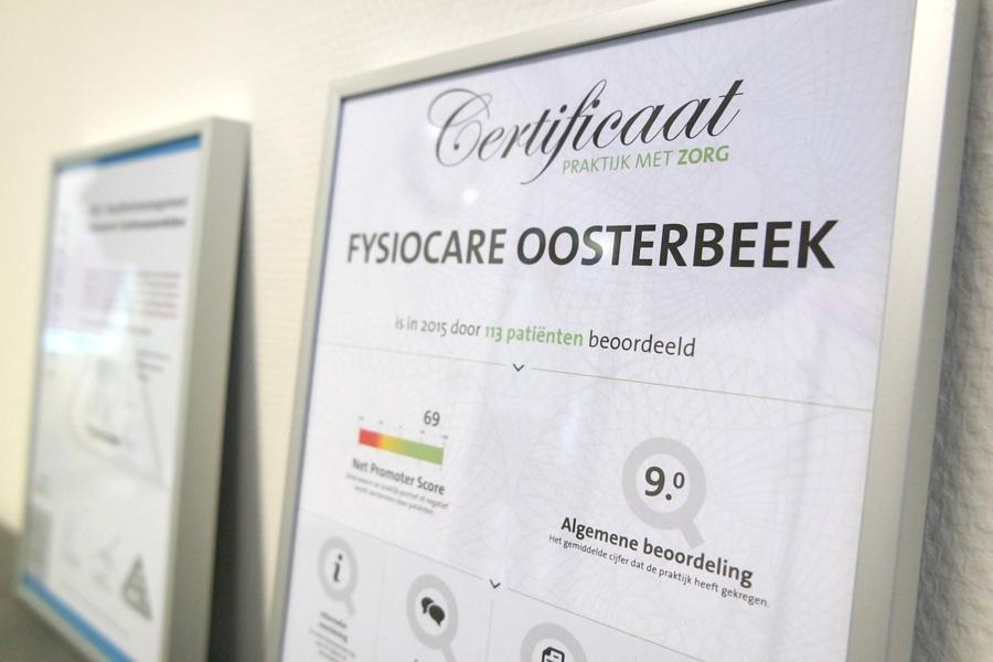 Fysiocare Oosterbeek certificaat